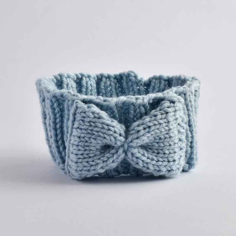 Stirnband mit Masche hellblau