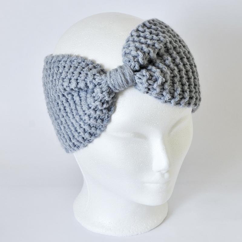 Stirnband in Maschenform hellblau (ohne Wolle!)