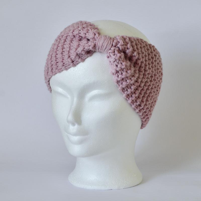 Stirnband in Maschenform hellrosa (ohne Wolle!)
