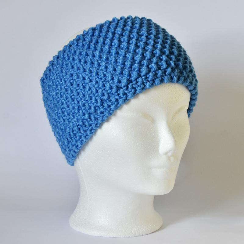 Perlstrickmuster-Stirnband blau