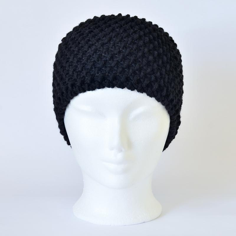 Perlstrickmuster-Stirnband schwarz