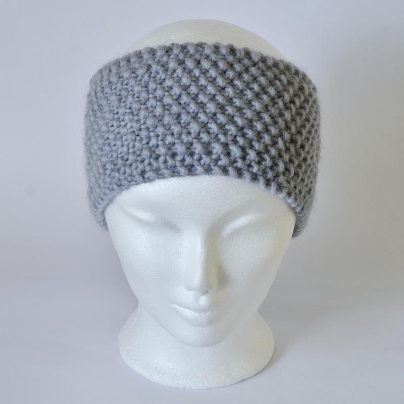 Perlstrickmuster-Stirnband blau-grau