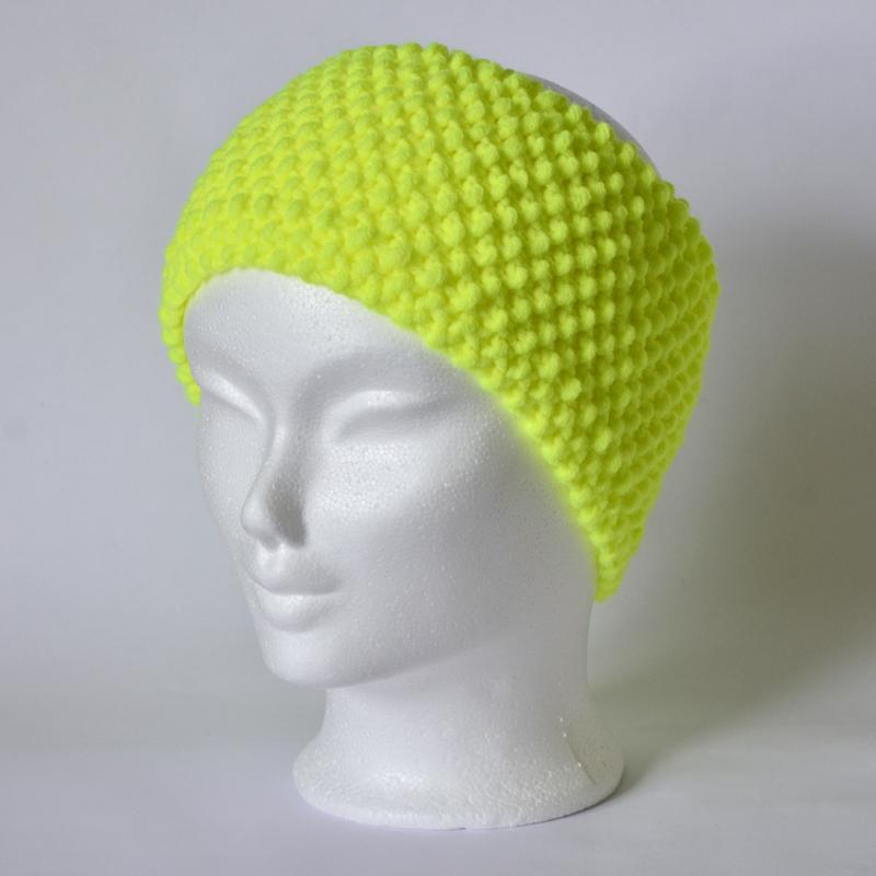 Perlstrickmuster-Stirnband neongelb