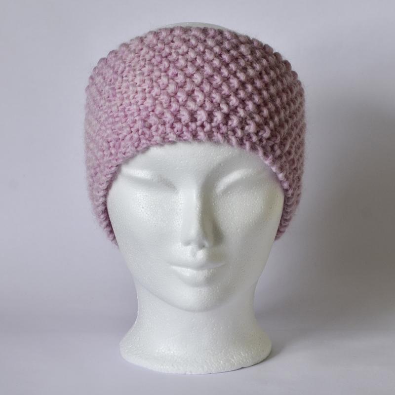 Perlstrickmuster-Stirnband rosa meliert
