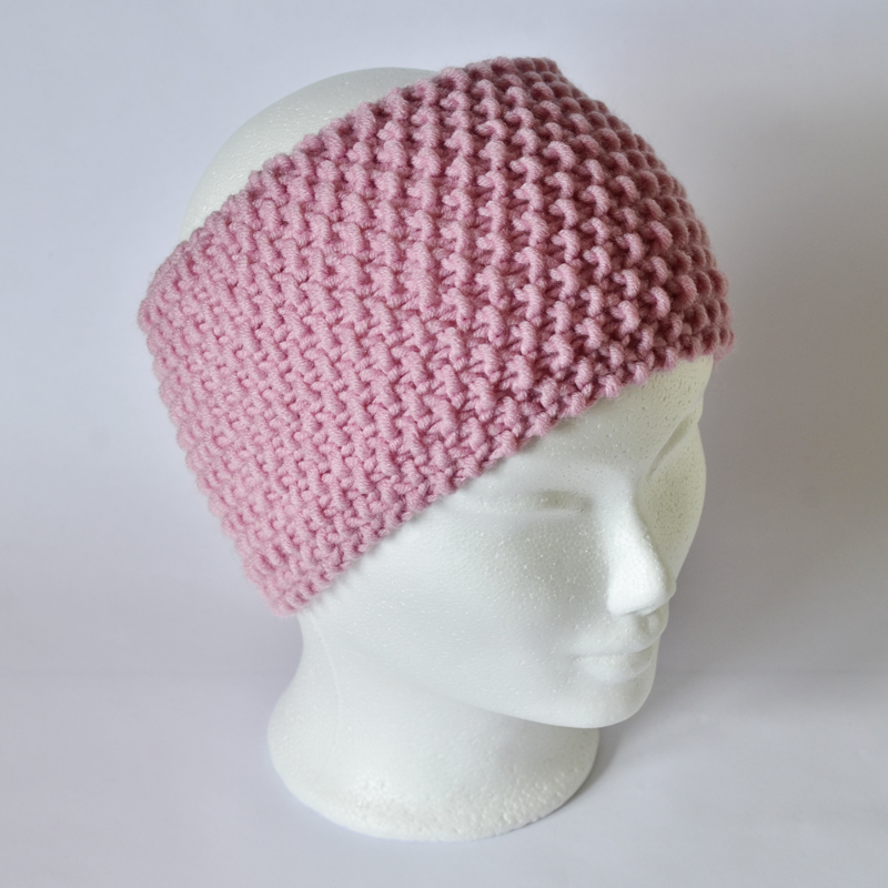 Perlstrickmuster-Stirnband rosa