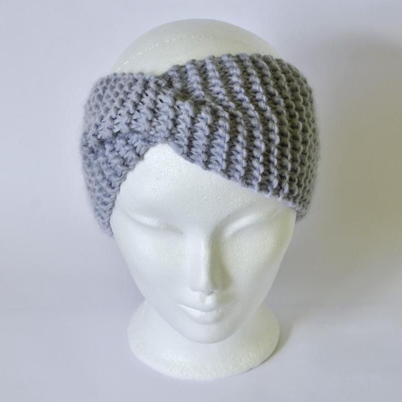 Stirnband mit Drehung blau-grau