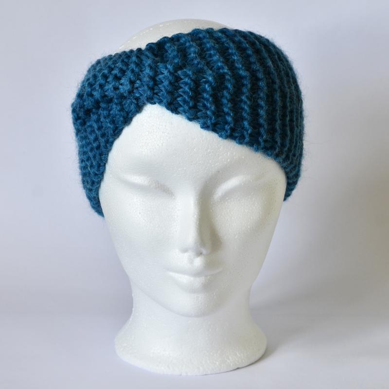 Stirnband mit Drehung petrolblau