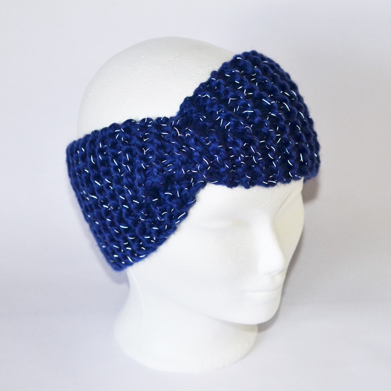 Reflektor-Stirnband mit Drehung dunkelblau