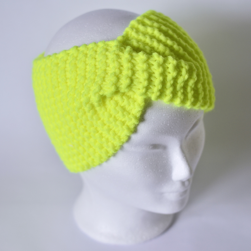 Stirnband mit Drehung neongelb