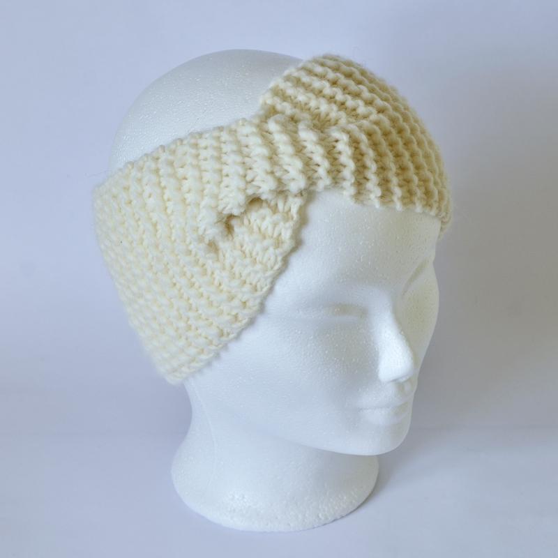 Stirnband mit Drehung naturweiß