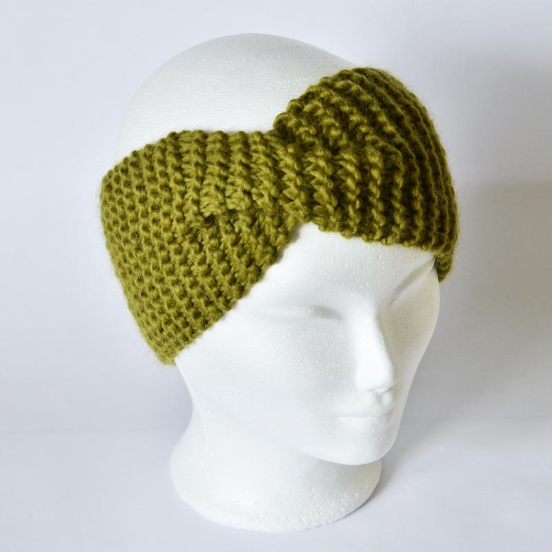 Stirnband mit Drehung olivengrün