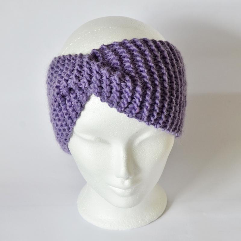 Stirnband mit Drehung lavendel/lila