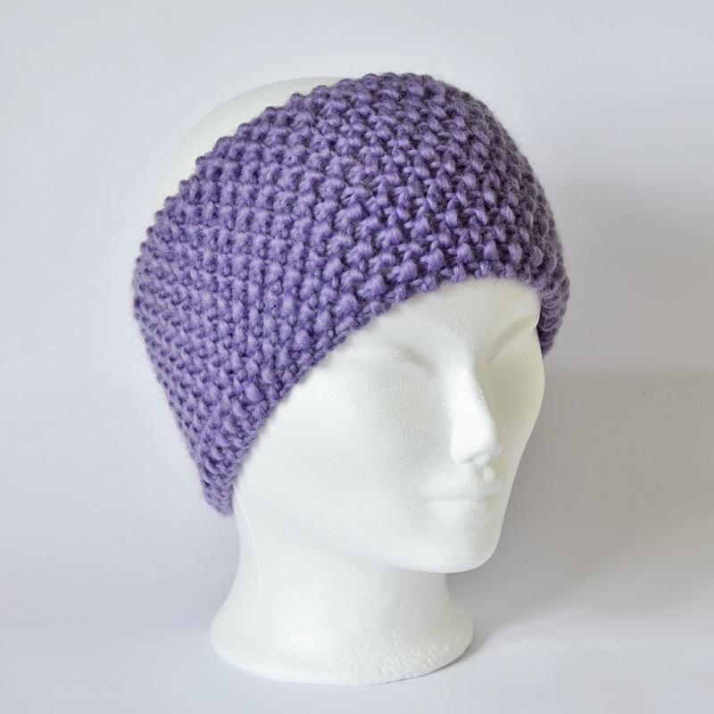 Perlstrickmuster-Stirnband lavendel/lila
