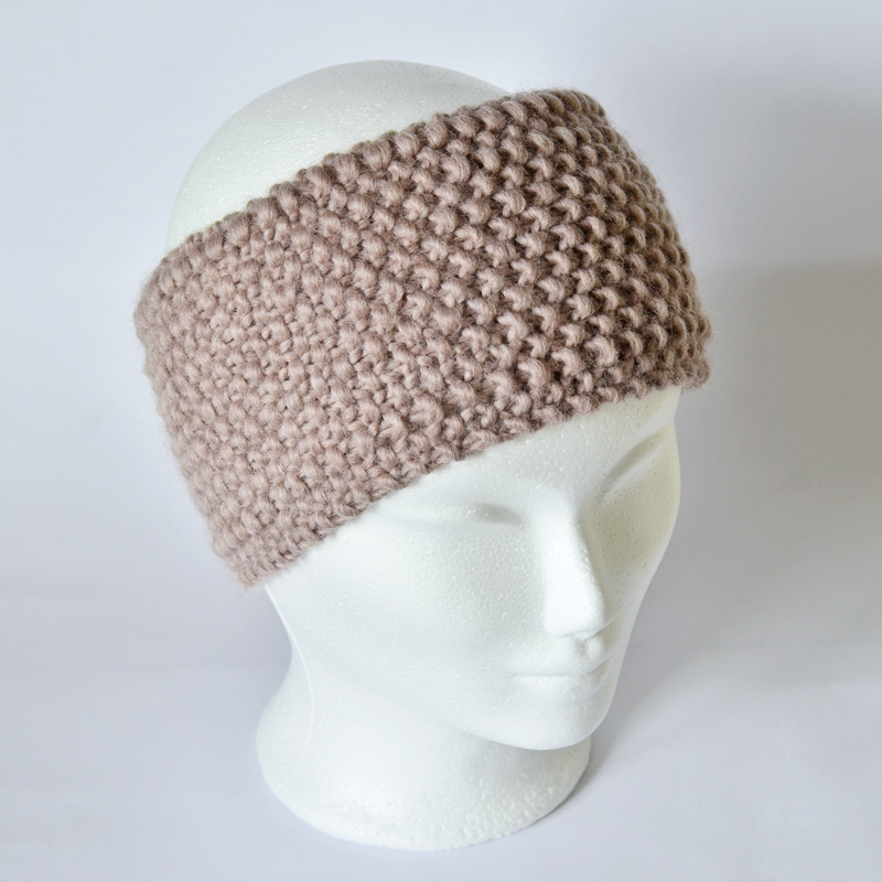Perlstrickmuster-Stirnband beige